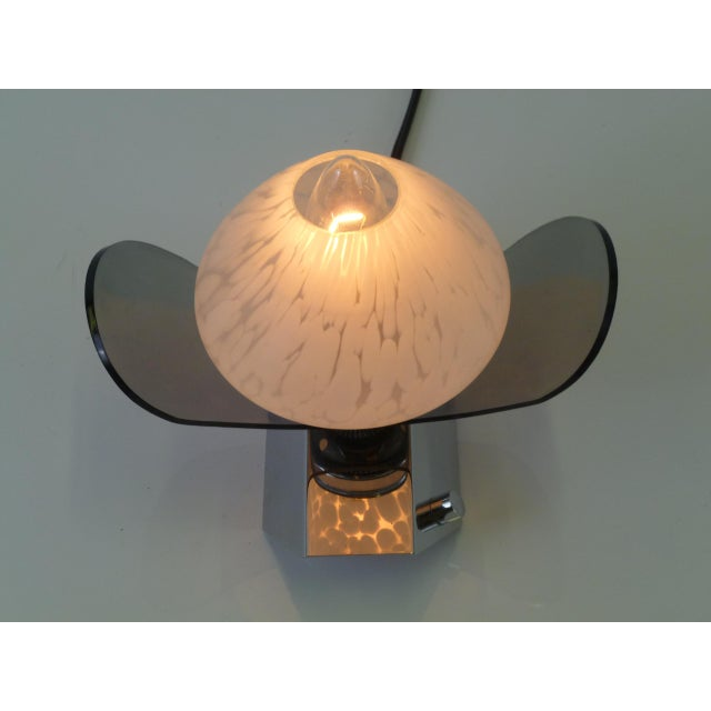 1970s Mid Century Modern Italian Pair of Wall Appliques Murano Globes, Chrome and Smoke Lucite For Sale - Image 5 of 9