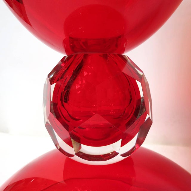 Red Murano Glass Urns by Fabio Ltd (2 Available) For Sale In Palm Springs - Image 6 of 7