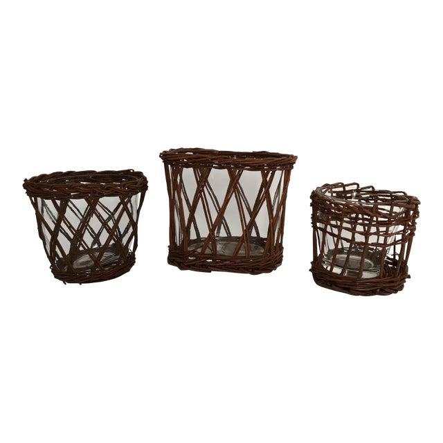 Glass Woven Vases - Set of 3 For Sale