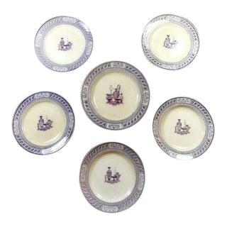Vintage Etruscan Enameled Ceramic Transferware Plates - Set of 6 For Sale