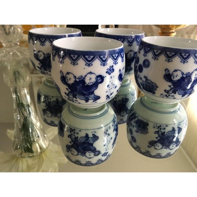 Blue & White Porcelain Tea Cups - Set of 4 - Image 3 of 8