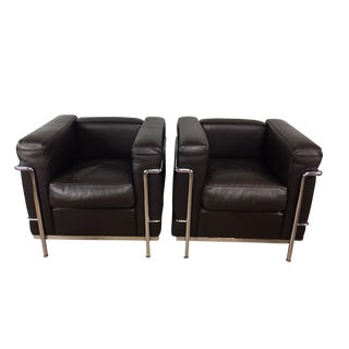 Cassina LeCorbusier Lc2 Club Chairs - a Pair