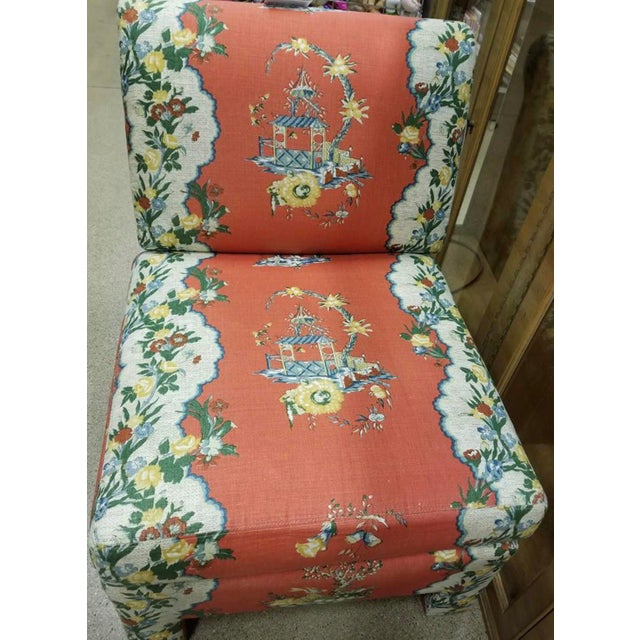 Fabric Vintage Chinoiserie Accent Chairs - A Pair For Sale - Image 7 of 11