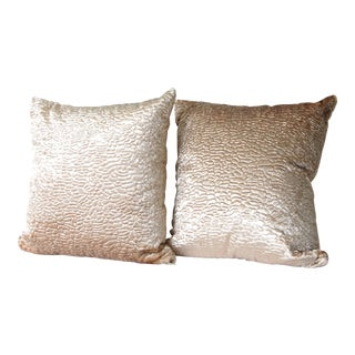 Pair of Crushed Velvet Pillow Covers 16x16 For Sale