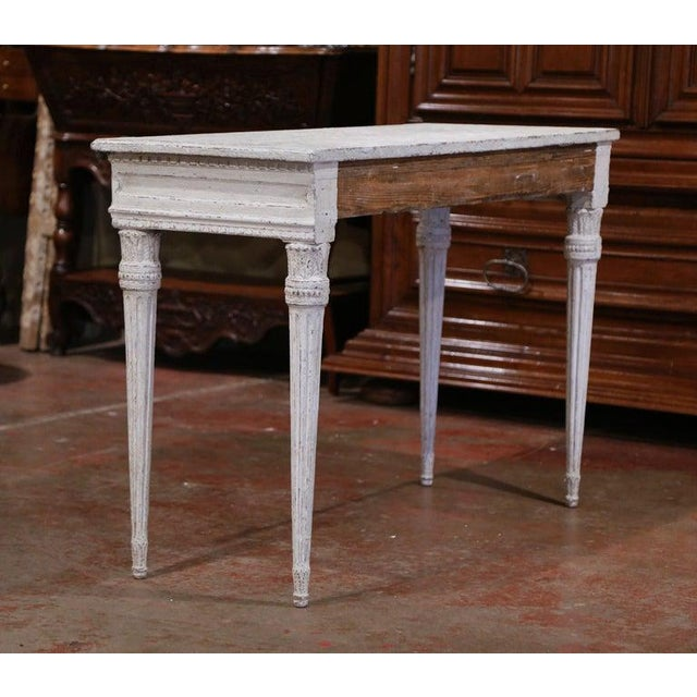 French 19th Century French Louis XVI Carved Painted Table Console For Sale - Image 3 of 13