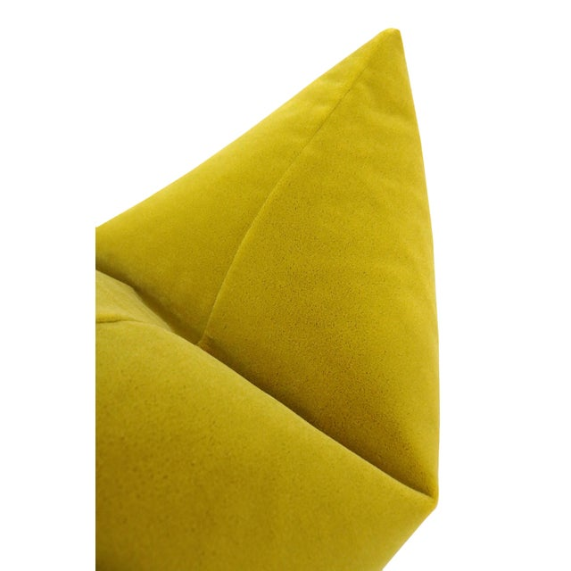 """22"""" Chartreuse Mohair Pillows - a Pair For Sale - Image 4 of 5"""