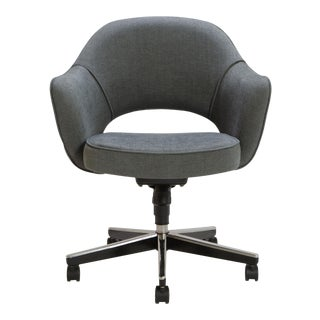 Saarinen Executive Arm Chair in Textured Charcoal Weave, Swivel Base