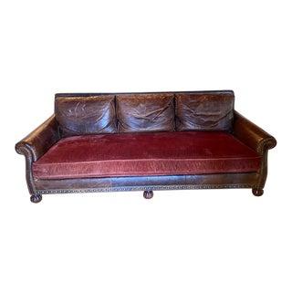 Ralph Lauren Aran Isles Leather Sofa For Sale