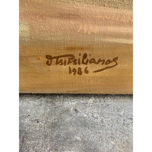 Monumental Oil Painting Mykonos Island Greece Signed by G.Tsitsilianos 1986 For Sale - Image 4 of 13