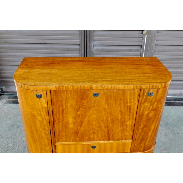 1940s Art Moderne Secretary Desk and Dry Bar in Honduran Mahogany For Sale - Image 10 of 13