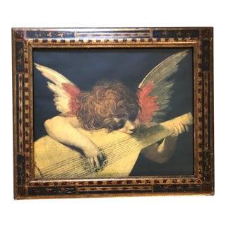 Vintage Florentine Angel Print With Original Florentine Frame For Sale