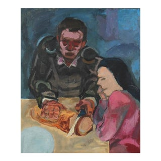 Expressionist Kitchen Table Scene Oil Painting, 1940s For Sale
