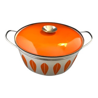 Orange Lotusgryde Cathrineholm Casserole or Dutch Oven by Catherine Holm of Norway For Sale