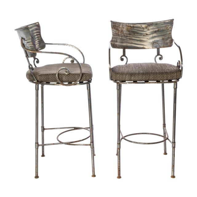 Steel Bar Stools - A Pair For Sale
