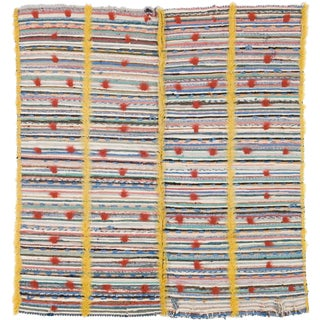 20th Century Swedish Flat & Pile Weave Rug- 3′11″ × 4′3″ For Sale