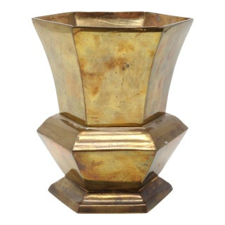Vintage Hexagonal Brass Vase Made in India For Sale