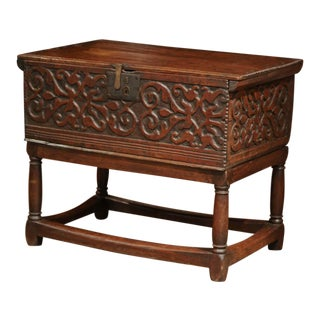 18th Century, French, Louis XIII Carved Oak Trunk Side Table With Floral Decor For Sale