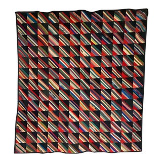 19th Century Contemporary Strip Squares Quilt For Sale