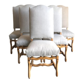 Mid 19th Century Louis XVI Mutton Bone Stretcher Dining Chairs- Set of 6 For Sale