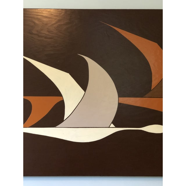 Large Midcentury Painting of Flying Geese For Sale - Image 4 of 11