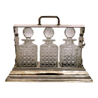 Antique English Sheffield Silver Plate and Cut Crystal Three Bottle Tantalus. For Sale