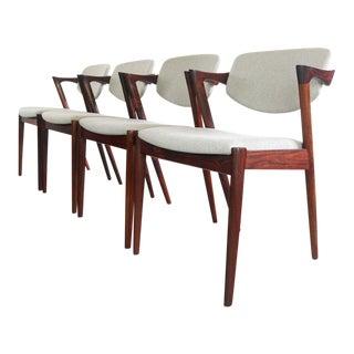 1960s Vintage Brazilian Rosewood Kai Kristiansen No. 42 Chairs - Set of 4 For Sale
