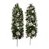 Image of Vatican Sized Portapalmas Altar Flower Garlands in Bisque Bone Porcelain and Italia Tole 4' a Pair For Sale