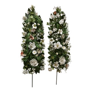 Vatican Sized Portapalmas Altar Flower Garlands in Bisque Bone Porcelain and Italia Tole 4' a Pair For Sale