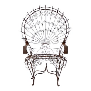 Vintage Wrought Iron Peacock Chair For Sale