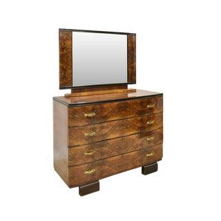 1930s Italian Art Deco Burled Walnut Four Drawer Dresser With Mirror For Sale