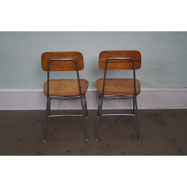 Heywood-Wakefield Heywood Wakefield Mid Century Chrome Frame Side Chairs - S/4 For Sale - Image 4 of 10