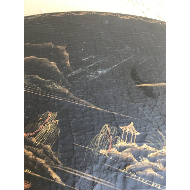 Black 1990s Chinoiserie Painted Round Game Center Table For Sale - Image 8 of 13