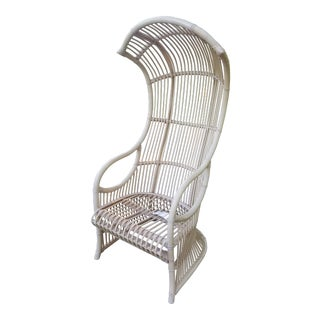 1970s Vintage Henry Olko for Willow and Reed Bent Rattan Canopy Chair For Sale