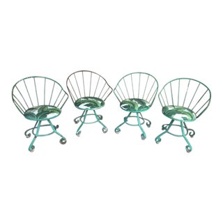 Homecrest Iron Swivel Lounge Chairs - Set of 4