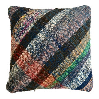 "1970s Pillow Cover Vintage Handmade Cotton RagRug Kilim Sham Throw Pillow 16"" X 16"" For Sale"