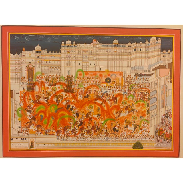 A very fine representation of Holi Scene Painting displayed at the City Palace Museum, Udaipur. A very fine and delicate...