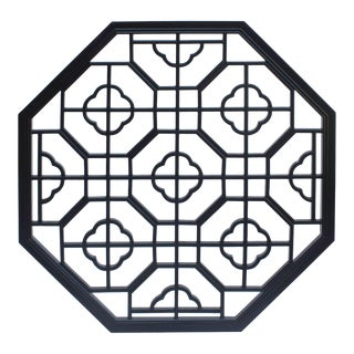 Chinese Black Octagonal Flower Geometric Pattern Wall Panel For Sale