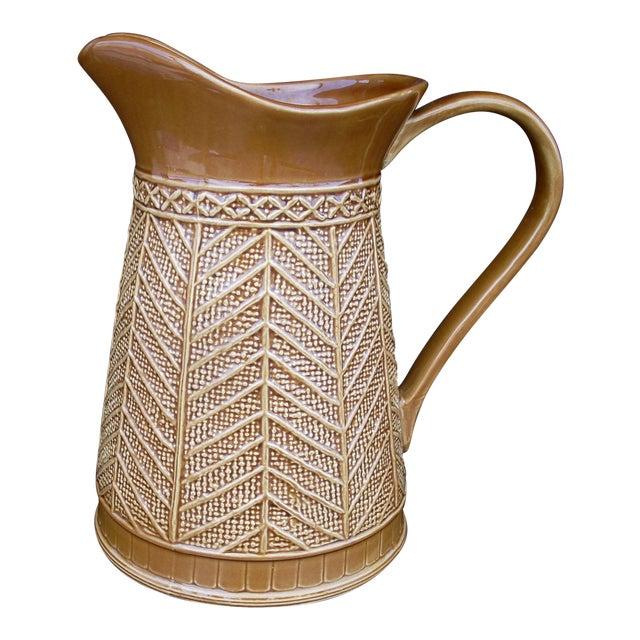 """Stoneware """"Rattan"""" Pattern Pitcher - Image 1 of 5"""