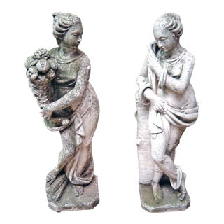 Lady Cement Garden Statues - A Pair