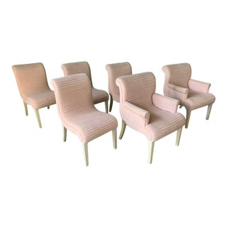 Set of Six Sculptural Pink Channel Back Tufted Dining Chairs For Sale