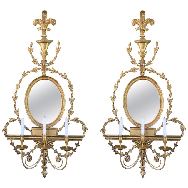 Pair of Adam Style Wall Sconces For Sale In Boston - Image 6 of 6