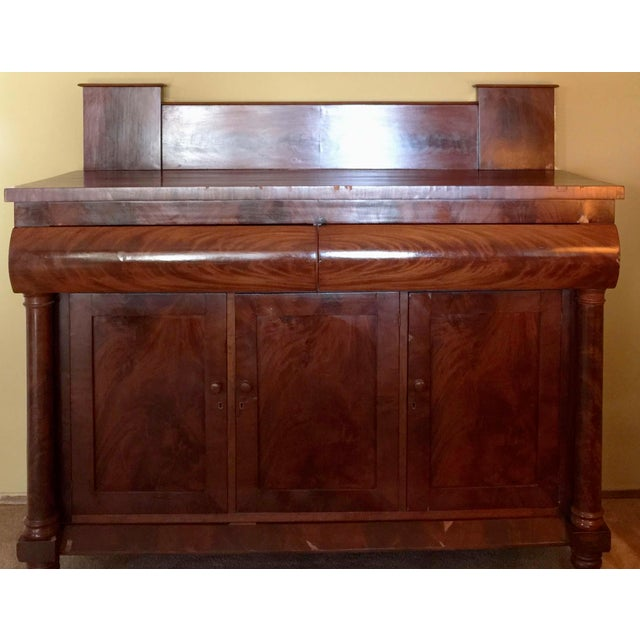 Antique Empire Style Mahogany Veneer Sideboard - Image 2 of 8