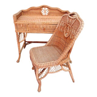 1990s Boho Chic Natural Rattan Desk and Chair - 2 Pieces For Sale