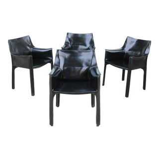"""Cassina Italian Leather Set of 4 """"Cab"""" Side Chairs"""