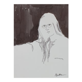 Monochromatic Portrait of a Woman in Ink, Late 20th For Sale
