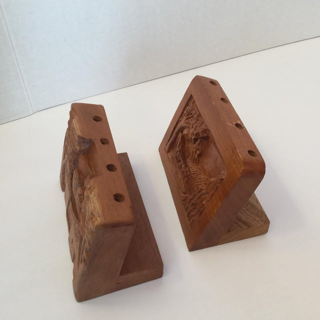 Brown Hand Carved Wood Carvings - A Pair For Sale - Image 8 of 11