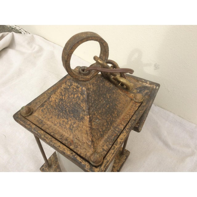 Metal Antique Hammered Texture Iron and Glass Lantern For Sale - Image 7 of 11