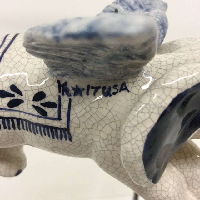 Ceramic Hand Painted Artisan Ceramic Flying Elephant For Sale - Image 7 of 11
