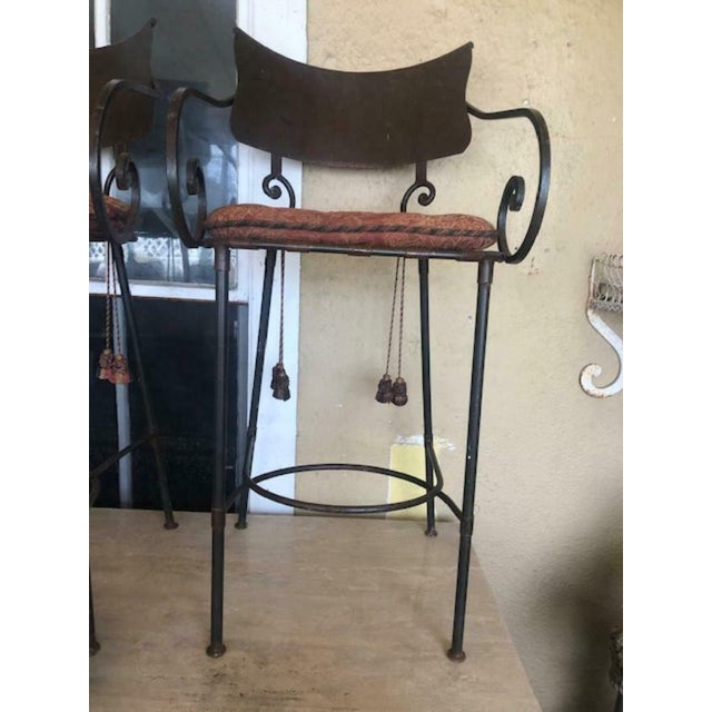 These are a very nice set of 3 bar stools. Made in USA. very good quality very sturdy. Round back with lattice seats with...