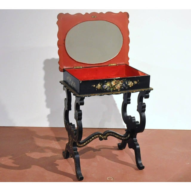 19th Century French Hand-Painted and Gilt Three-Piece Set, Chairs and Matching Table, With Mother-Of-Pearl For Sale - Image 4 of 10
